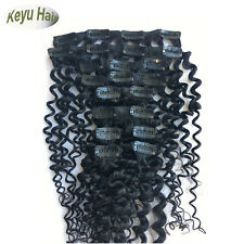 Full Head 10pcs 120g Deep Wave Curly Clip In Human Hair Extensions Hair Weft