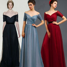 Empire Waist Long Chiffon Bridesmaid Evening Ball Gowns Prom Formal Party Dress