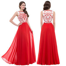 NEW RED Long Wedding Applique Evening Prom Gown Cocktail Party Formal Maxi Dress