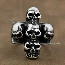 Solid 316L Stainless Steel Huge Skull Cross Mens Biker Rocker Ring 7P001E