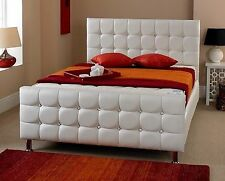 White Leather Bed For Any Bedroom Designer Bed Available In All Colours & Sizes
