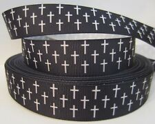 "GROSGRAIN BLACK AND WHITE CROSSES 7/8"" INCH GROSGRAIN RIBBON 1, 3 OR 5 YRDS"