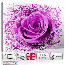 PINK ROSE FLOWERS ABSTRACT MODERN FLORAL - LARGE CANVAS WALL ART PRINTS PICTURES