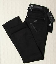 NWT ROCK & REPUBLIC Black Cropped Capri Skinny Jeans Sz 2 After Hours Kendall Wm