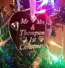 Personalised Christmas Tree Decoration Baubles / Heart Engraved Gift Mr & Mrs