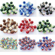 10Pcs Czech Crystal Rhinestone Pave Clay Disco Ball Round Spacer Beads DIY 10MM