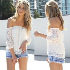 Sexy White Lace Off-shoulder Loose Tops Fashion Casual T-Shirt Blouse Pop