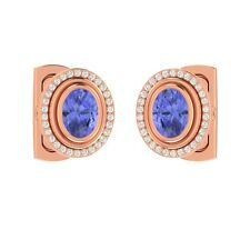 2.90 ct Natural Oval Cut Blue Tanzanite & Certified Diamond Solid Gold Cufflinks