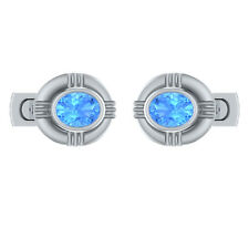 2.50 ct Natural Oval Cut Blue Topaz Solid Gold Mens Cufflinks Jewelry
