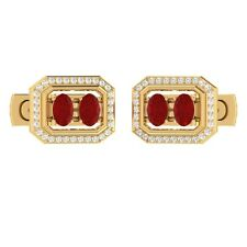1.50 ct Natural Oval Cut Red Ruby & Certified Diamond Solid Gold Cufflinks
