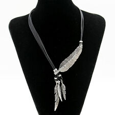 Bohemian Style Black Rope Chain Feather Pendant Necklace Collar Women Jewelry