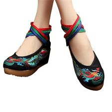 Chinese Embroidered Shoes Women Ballerina Cotton Elevator shoes Phoenix Black