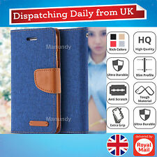 Genuine Hand Made Cloth Leather Wallet Flip Slim Case Cover For iPhone Samsung