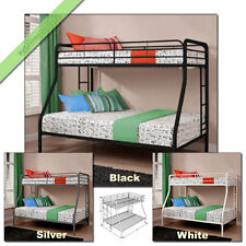 Bunkbeds Twin Over Full Metal Bunk Beds for Girls Boys Kids Teen Bed with Ladder