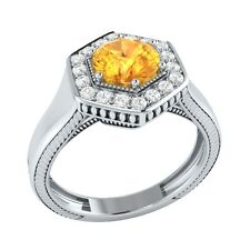 0.75 ct Natural Citrine & Certified Diamond Solid Gold wedding Engagement Ring