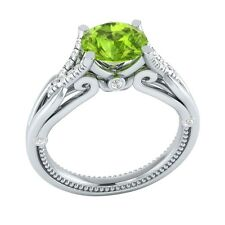 1.15 ct Natural Peridot & Certified Diamond Solid Gold wedding Engagement Ring