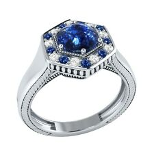 0.75 ct Real Sapphire & Certified Diamond Solid Gold wedding Engagement Ring