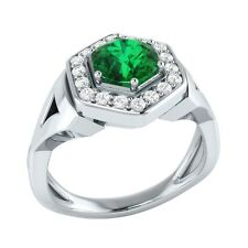 0.80 ct Natural Emerald & Certified Diamond Solid Gold wedding Engagement Ring
