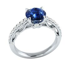 1.30 ct Natural Sapphire & Certified Diamond Solid Gold wedding Engagement Ring