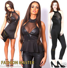 Womens Ladies Halter Neck Mesh Peplum Top Bodycon Mini Party Dress Jumpsuit Top