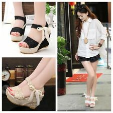 Women's Summer Fashion Lace Ribbon Fish Mouth Sweet High-heeled Sandals Shoes