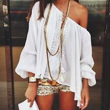 Sexy Womens Summer Blouse White Off Shoulder Casual Tops Lace Chiffon Tee Shirt