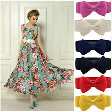 Luxury Lovely Women Bowknot Elastic Bow Wide Stretch Buckle Waistband Waist Belt