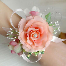 Wedding Prom Bridal Wrist Corsage Girls Artificial Rose Silk Flower Bracelet Hot