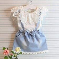 2PCS New Kids Baby Girls Outfit Clothes T-shirt Tops+Strap Dress Skirt Sets 1-5Y