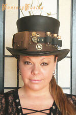 Steampunk Hat Futurist Traveller Leather HIGH Top Hat Pockets Glass Vials no.2
