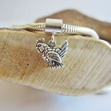 Chicken Mini Sterling Silver European-Style Charm and Bracelet- Free Shipping