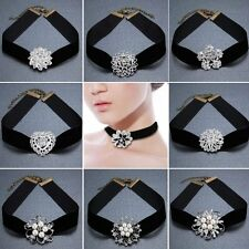 GOTHIC VELVET WOMEN BEAUTY SILVER CRYSTAL BROOCH PIN PENDANT CHOKER NECKLACE HOT