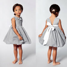 Summer Backless Bow Party Wedding Flower Girls Dress In Grey and White Stripes