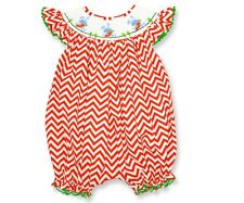 Dana Kids Easter Orange Chevron Bunny Carrot Smocked Romper Baby Girl 6M to 3T