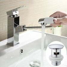 Pull Out Chrome Bathroom Basin Sink Bath Mixer Tap Faucet / Slotted Pop Up Waste
