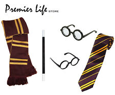 School boy Wizard Fancy Dress Costume Accessories  -  Scarf,Glasses and Tie