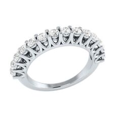 0.70 ct Natural Round White Sapphire Solid Gold Half Eternity Wedding Band Ring