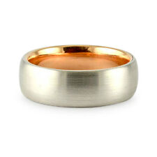 7MM TWO TONE 18K WHITE ROSE GOLD BRUSHED COMFORT FIT WEDDING BAND RING