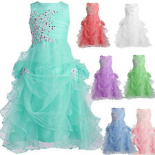 Applique Bridesmaid Flower Girls Birthday Grads Party Pageant Prom Ruffled Dress