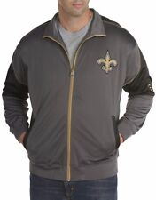 New Orleans Saints Mens Full Zip Tricot Charcoal Track Jacket Big & Tall Sizes