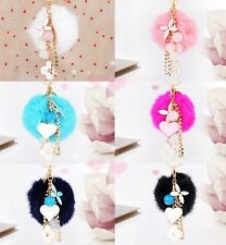 Four leaf clover cute fashion hair balls key chain bag keychain car key ring