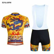 Men Summer Bicycle Cycling Short Sleeve Jersey  Tops + (Bib) Shorts Set Dragon