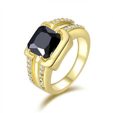 10KT Yellow Gold Filled Size 7,8,9,10,11 Jewelry Men's Black Sapphire Ring Gift