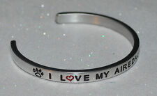 I Love My Airedale Terrier  | Engraved not Hand Stamped