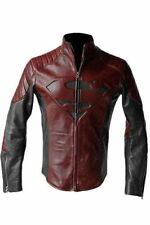 SUPERMAN,MAN OF STEEL, SMALLVILLE, BLACK AND RED LEATHER SHIELD JACKET (XS..3XL)