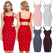 Vintage Style Polka Dots Swing 50s 60s Pinup Housewife Pencil Dress