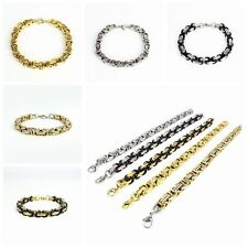 Men 316L Stainless Steel Byzantine Chain Bracelet 8mm Width Bangle Punk Jewelry