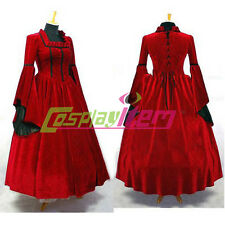 Red Velvet Gothic Lolita Medieval Renaissanc Victorian  Ball Gown Dress Costume