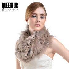 Queenfur Real Knit Rex Rabbit Fur Scarf Natural Raccoon Fur Wrap Warm Fur Shawl