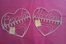 Shabby Chic Cream Wire Heart Necklace & Bracelet Wall Mounted Hanger Rack Hooks